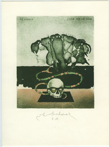 239. Bookplate. LODE DEURINCK. Woman´s head, snake and skull.