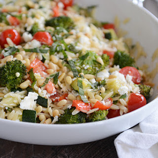 Summer Roasted Vegetable Orzo Salad with Fresh Basil
