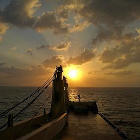 by Zeljko Kliska - Instagram & Mobile Android ( vessel, ship, sunset, sea, landscape )