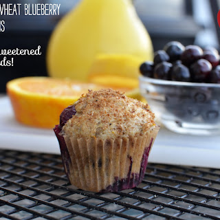 100% Whole Wheat Orange Blueberry Muffins.