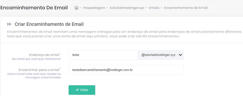criar redirecionamento de email na hostinger