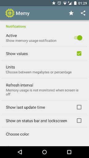 Memy - RAM in notification