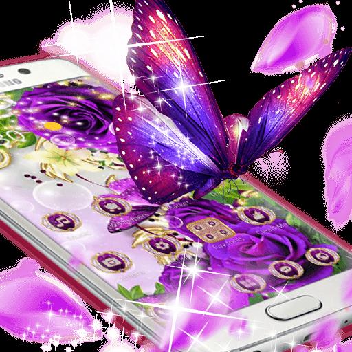 Purple Flowers Butterfly Diamond Theme