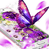 Purple Flowers Butterfly Diamond Theme