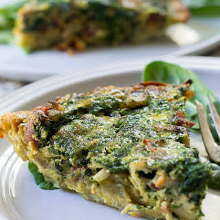 Paleo & Whole30 Spinach Quiche with Bacon Mushrooms and Onions.