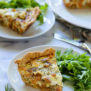 Sweet Potato Goat Cheese Quiche with Caramelized Onions and Rosemary.
