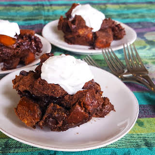 Mocha Rum Bread Pudding with Spiked Coconut Whipped Cream.