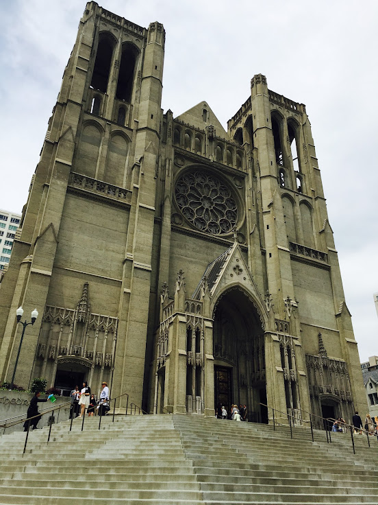 A view from the steps leading to Grace Cathedral.