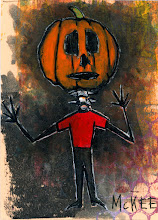 """Photo: Pumpkin Head.  2.5/3.5"""" or 6/9 cm.  Mixed medium on archival paper.  Signed and sealed.  ©Marisol McKee"""