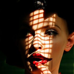Sublime by Katja Zagar Photography - People Fashion ( fashion, red, shadow, woman, lips, beauty, people, portrait )