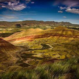 Painted Hills by Jerry Cahill - Landscapes Caves & Formations