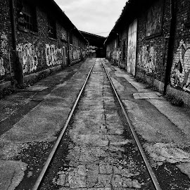 Never Too Long by Goran Grudić - Instagram & Mobile iPhone ( hall, industrial, path, rail, road, warehouse )