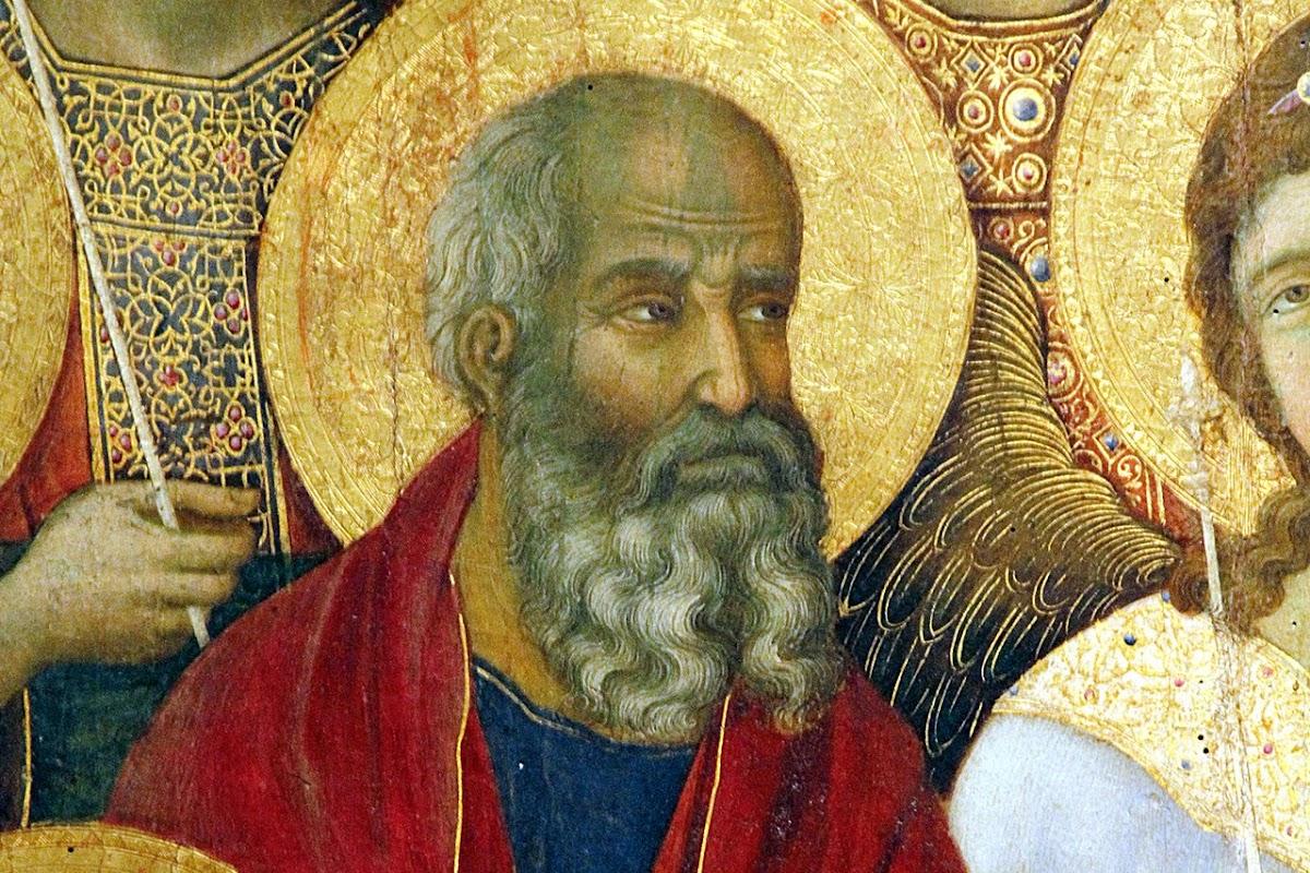 Duccio di Boninsegna, Maestà del Duomo di Siena (1308-1311) (dettaglio San Giovanni Evangelista)