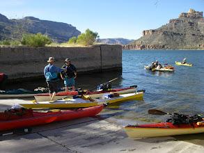 Photo: Apache Lake marina launch.  Participants:Steve A.,  Mark T., Luci & Jim D., Ron P., Dee M., Tim R., Rudi L. and Norma M.