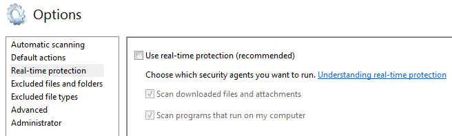 Uncheck Use real-time protection (recommended)