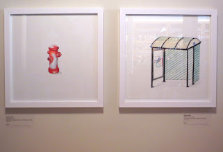 Photo: Cayla Harris Left: 6th Street, 2015 Gouache and graphite on watercolor paper 12 x 12 in  Right: Getting there, 2015 Gouache and ink on watercolor paper 11 x 11 in