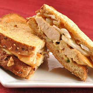 Oven Grilled Chicken, Camembert and Apple Sandwiches.