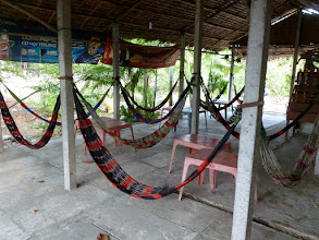 "Photo: We drove away from Saigon towards the Cambodian border.  A ""hammock cafe"" is where people can stop their drive, rest, and have something to eat."