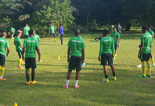 Bafana Bafana players take part in a light training session at the outer fields of the match venue on Thursday afternoon ahead of Saturday's 2019 Africa Cup of Nations qualifier against Nigeria in Uyo.