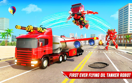 Flying Oil Tanker Robot Truck Transform Robot Game screenshots 4
