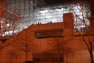 Photo: A group of people outside the back of the Javits Convention Center.