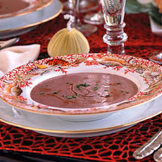 Red Pea Bisque with Rum Flambé.
