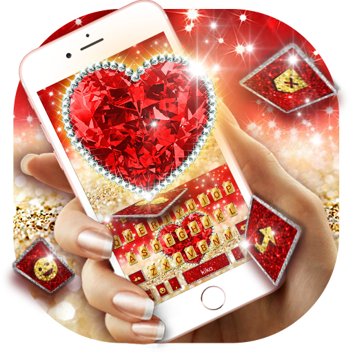 Golden Red Luxury Heart Keyboard Theme Icon
