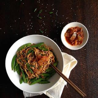 Quick Vegan Kimchi Fried Noodles.