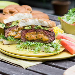 Jalapeño Cheddar Stuffed Burgers with Chipotle Guacamole.