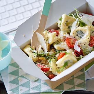Tortellini salad with Parmesan dressing.