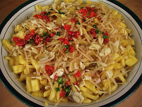 "Photo: spicy rice vermicelli salad with pineapple, ginger and coconut-lime sauce ('kanom jeen sao nahm"")"