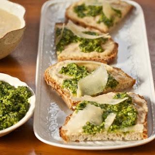 White Bean & Arugula-Walnut Pesto Tartines