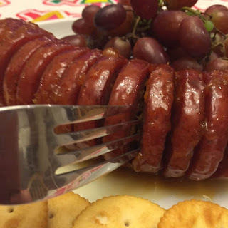 Baked Summer Sausage With Apricot Mustard Glaze.