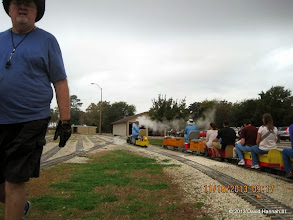 Photo: Bill Smith guides Texas State RR #400 back to the station.    2013-1116 DH3
