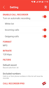 Auto call recorder - Unlimited and pro version Screenshot