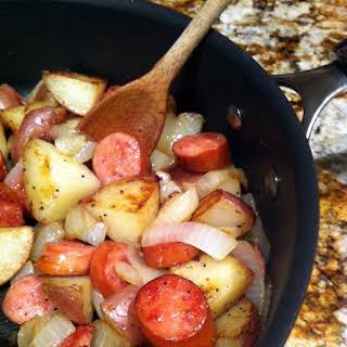 Smoked Sausage, Sautéed Onion, Potato and Thyme Skillet.