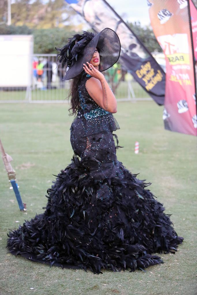 Tamarsha Khanyile's outfit at the 2016 Durban July   was far too OTT.