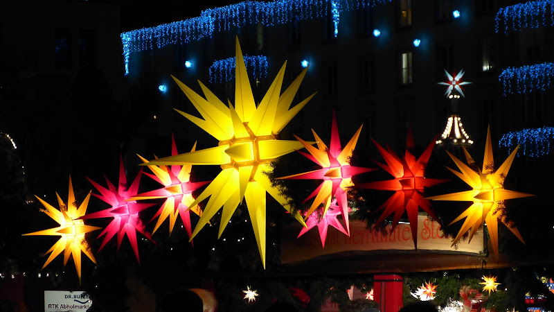 Illuminated star decorations at Dresden Christmas Market