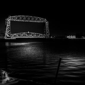 Sterling by Glen Sande - Buildings & Architecture Bridges & Suspended Structures ( mn, duluth, duluth harbor, b&w, canal park, lake superior, glen sande )
