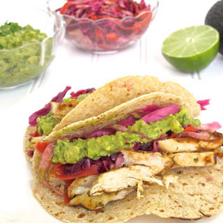 Lime Chicken Tacos with Spicy Slaw and Guacamole Recipe
