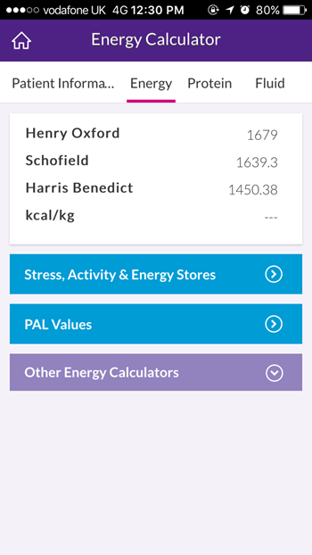 Nutricia Dietetic App- screenshot