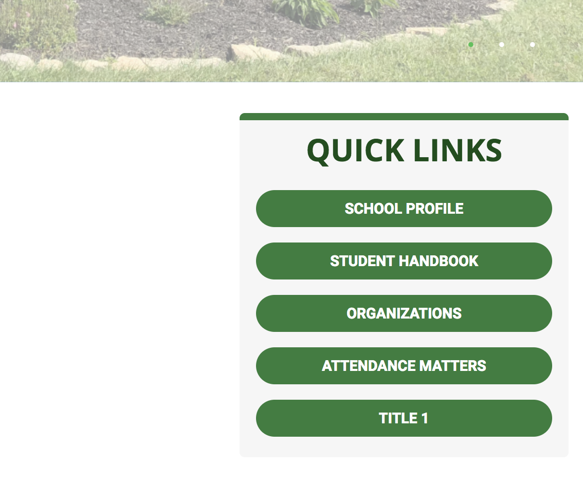 screenshot of the elementary webpage with the quicklinks section in the foreground