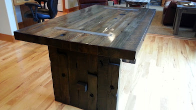 """Photo: Old World Butcher Table 72""""L x 40""""W x 30""""H Color: Smoke Finish: Medium Rubbed Hardware: Recessed Plain Steel Investment: 1850"""