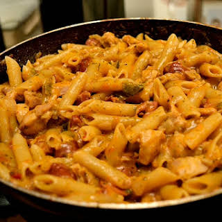 One-Pot Exotic Pasta with Chicken and Sausages.