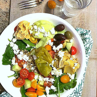 Greek Salad Bowl with Avocado Tzatziki