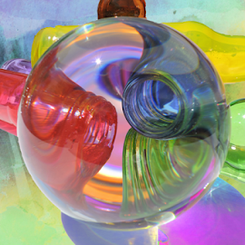 Bottle-neck by Melissa Davis - Artistic Objects Glass ( balls, crystal ball, artistic, glass, colored bottles,  )