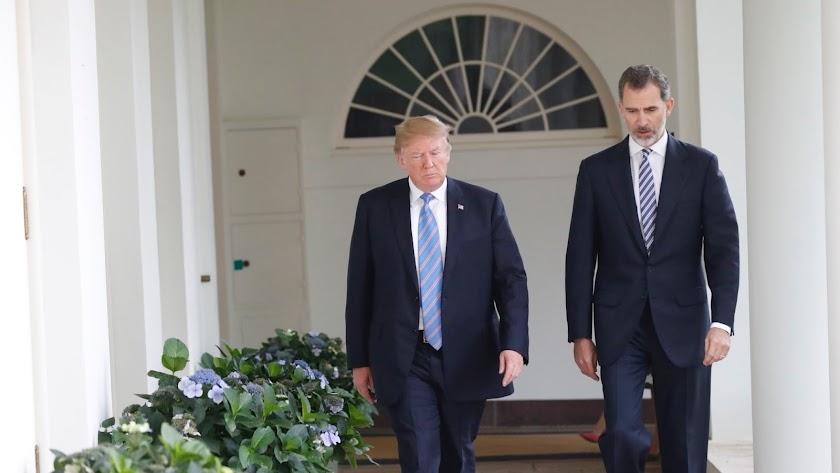 Donald Trump y el Rey Felipe en la casa Blanca en 2018.