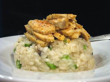 Mushroom Asparagus Risotto With Crisped Chicken
