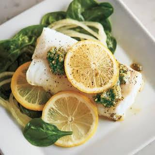Pesto Steamed Cod.