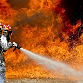 Firefighter I by Jay Reich - People Professional People ( water, firefighter, silver, firefighters, fireman, firemen, fire,  )